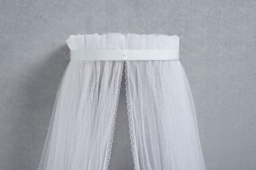 mosquiteiro com dossel de parede branco largo liso 2pçs