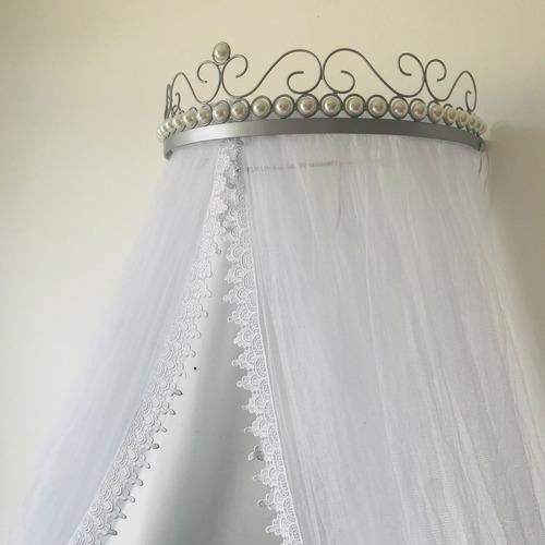 mosquiteiro renda guipir + dossel pérolas prateado prata
