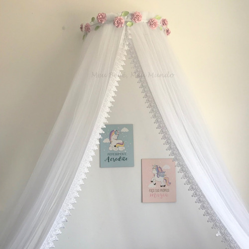 mosquiteiro renda guipir e dossel de flor rosa menina