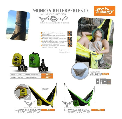 mosquitero red anti mosquito para hamacas camping ecology