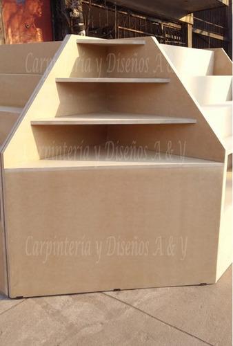 mostrador para kiosco en l 210cmx140cm caramelera 3 piezas