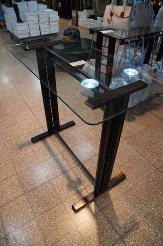 mostrador perchero simple desarmable c/tapa vidrio