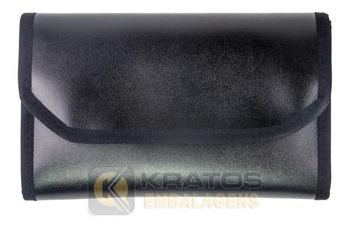 mostruário grande porta jóias couro preto - veludo dv cores
