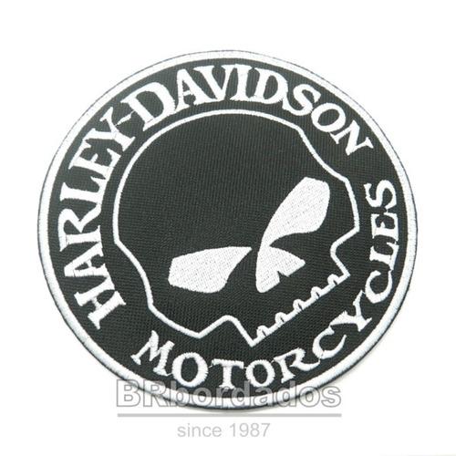 mot220 harley davidson skull p/ jaqueta patch bordado 28 cm