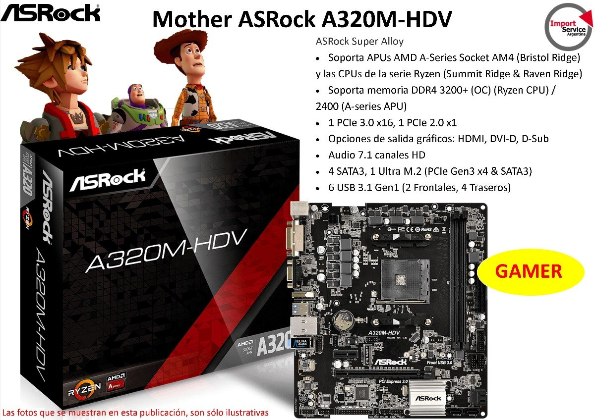 Mother Asrock A320m-hdv Am4 Ddr4 Hdmi, Dvi-d, D-sub Gamer