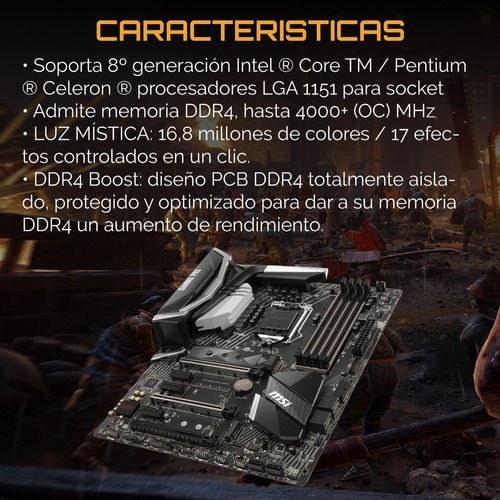 mother msi z370 gaming pro carbon rgb coffeelake 8va pc