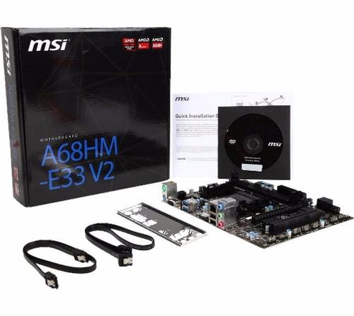motherboard msi a68hm-e33 v2, fm2+, a68h, ddr3, sata 6.0, us