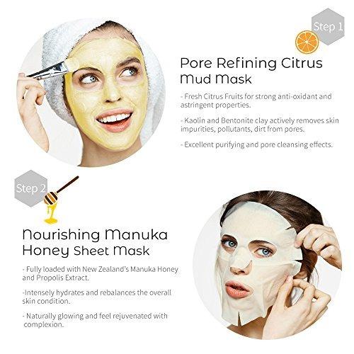 mothermade 2-step honey citrus spa facials paquete de 5 kit