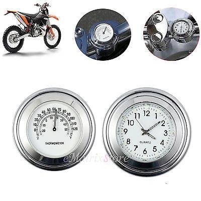 moto 7/8 '' manillar mount dial reloj reloj termómetro