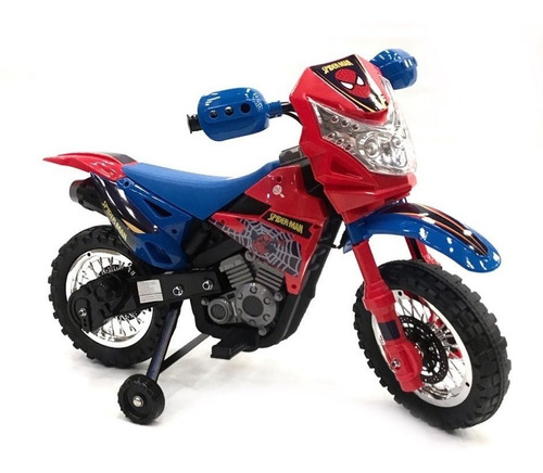 moto a bateria cross 6 volt luces sonido spiderman babymovil