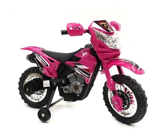 moto a bateria cross rosa 6 volt luces sonido nena babymovil