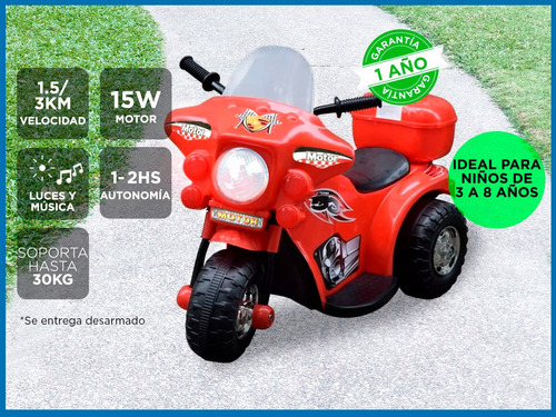 moto a bateria para chicos soporta hasta 30kg 2hs de uso