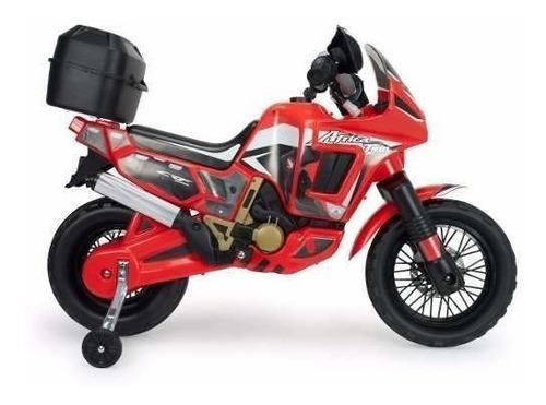moto áfrica twin honda injusa 6v con caja y ruedas traseras