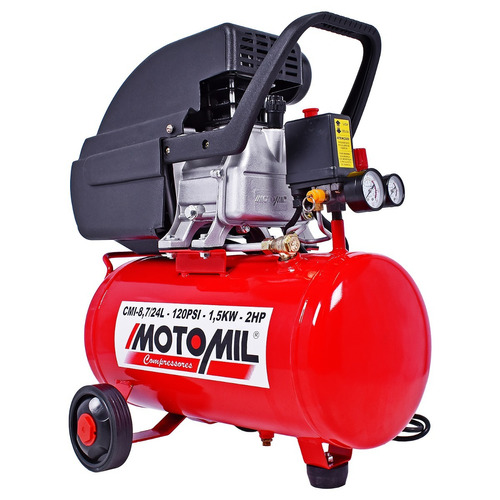 moto compressor ar pintura cmi-8,7/24l motomil 2hp bivolt