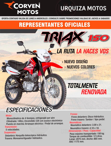 moto corven triax 150 new enduro cross 0km urquiza motos