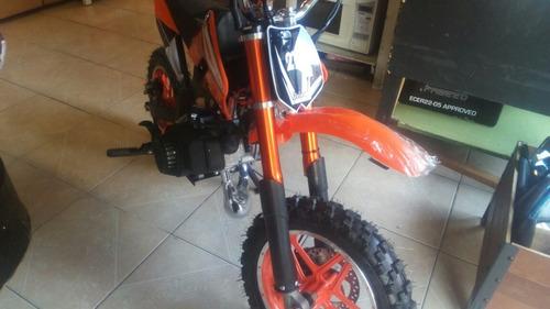 moto cros  50cc 2t de gasolina con marcha, azul, rojo, negro