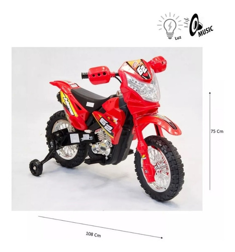 moto cross nene electrica a bateria 6v 7278 babymovil full