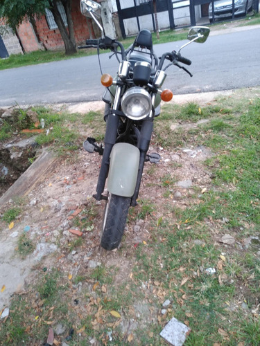 moto custom restaurada completa, color verde oliva militar