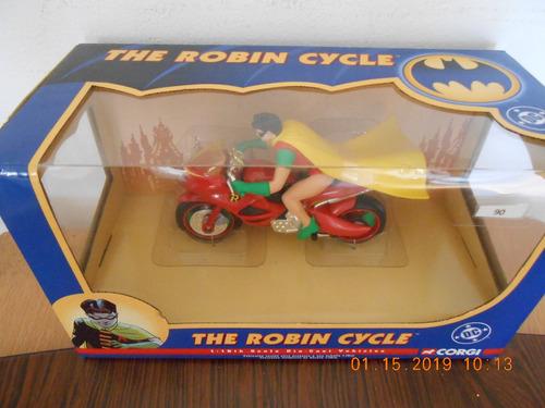 moto de robin die cast, marca corgi, escala 1:16