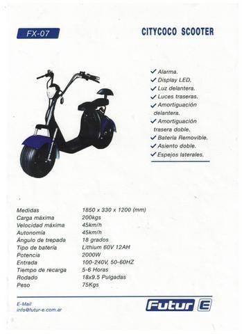 moto electrica citycoco asiento doble fx07 2000w love ap
