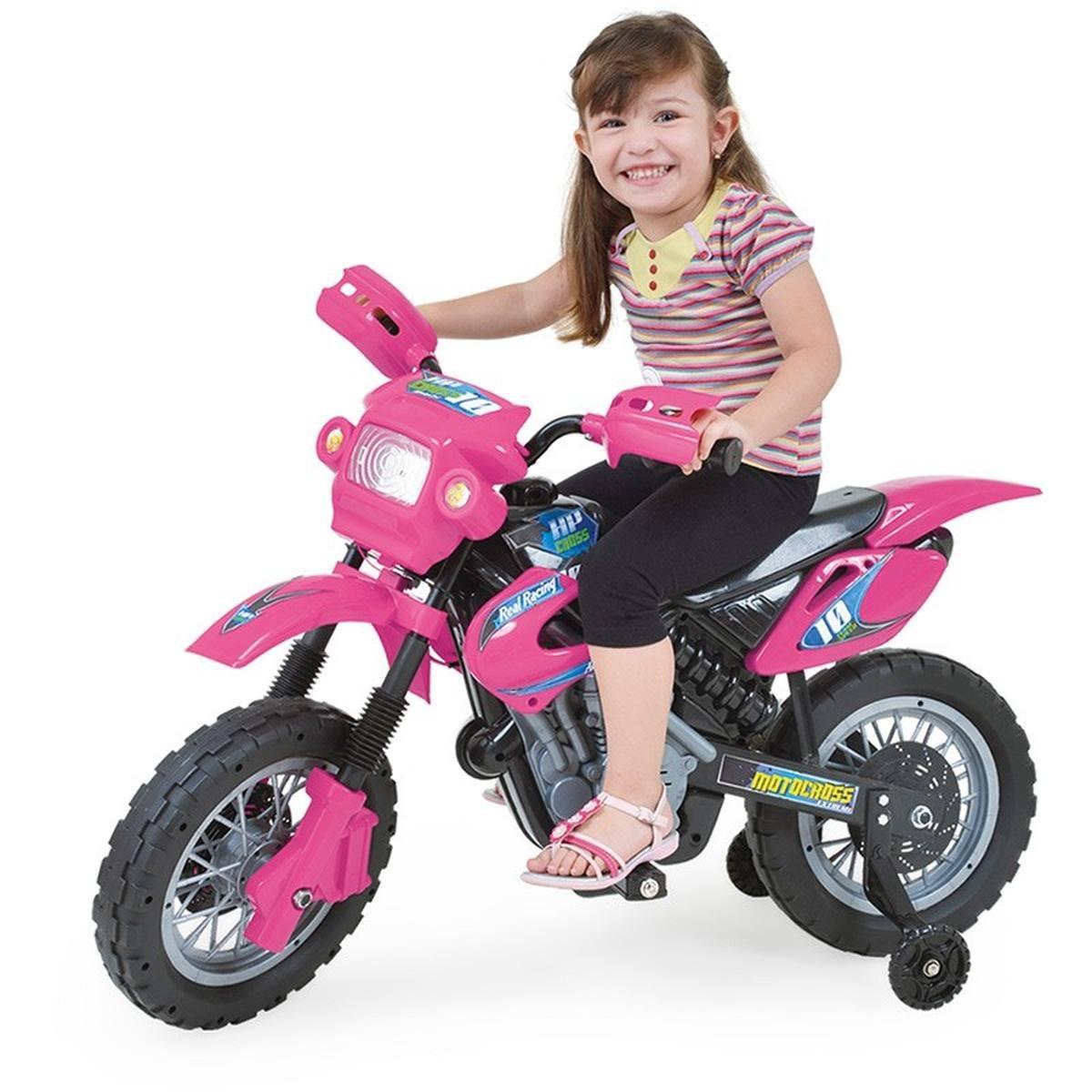 Moto el trica infantil motocross rosa homeplay r 519 for Homeplay