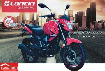 moto loncin lx200-70c apollo año 2020 200cc color ne/ ro