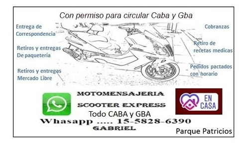 moto mensajeria capital federal - gba