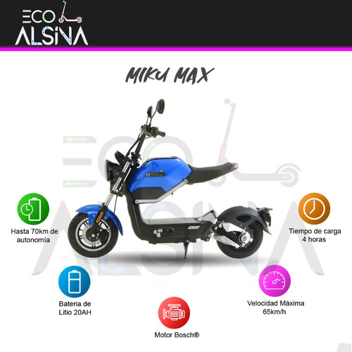 moto miku max scooter eléctrico/nueva 0km motor bosch 800w