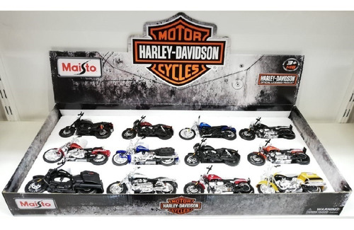 moto miniatura harley davidson colecionável 1:18 kit c/12pçs