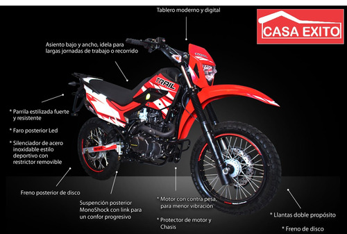 moto motor 1 trail 200 bross año 2020 color ro/ ne
