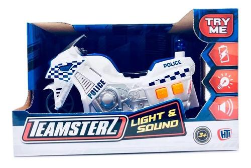 moto policia luz sonido teamsterz original 14084 educando