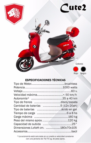 moto scooter electrica lucky lion cute 2  0km 2017 1000w