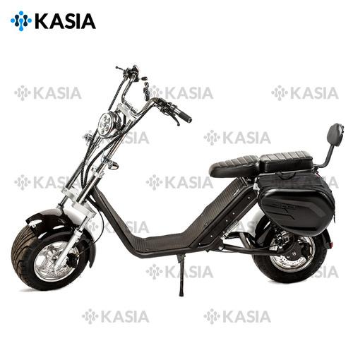moto scooter monopatín eléctrico kasia fortimus con alforj.