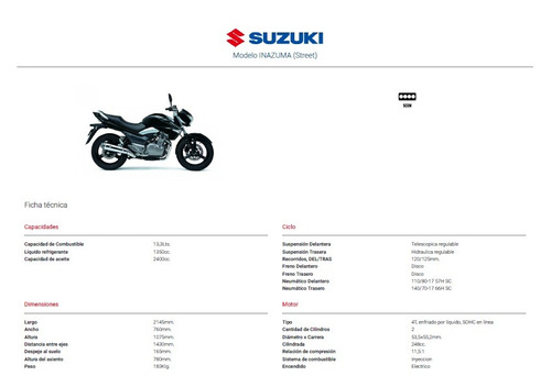 moto suzuki inazuma 250, 250