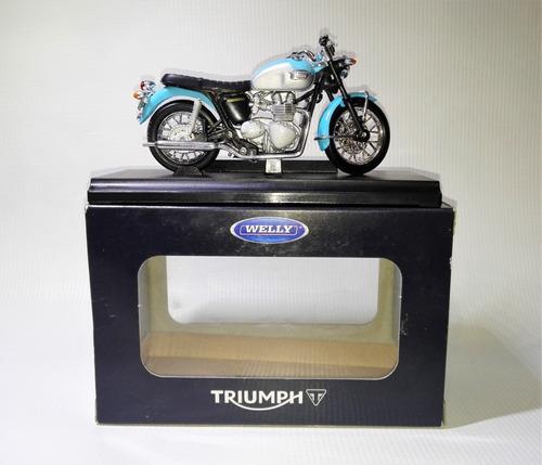 moto triumph bonneville a escala 1:18 marca welly