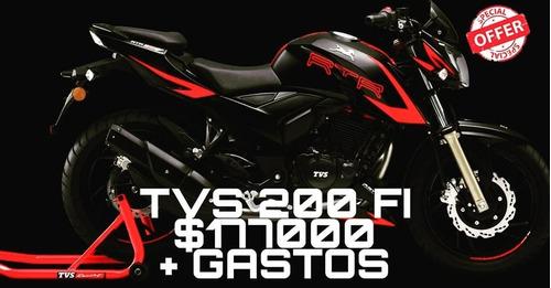 moto tvs 200 inyec fi 0 km $ 80000 + cuotas  12/18 c/ta