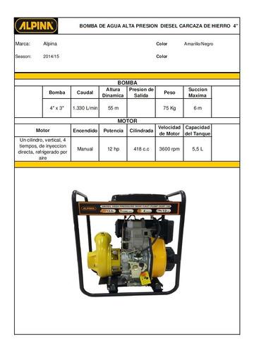 motobomba alta presion 4 pulgadas 12 hp diesel