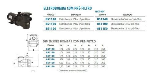 motobomba bpf 1.0 cv + pré-filtro para piscina até 120 mil l