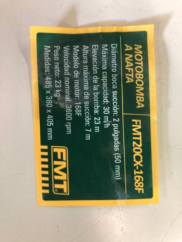 motobomba fmt 5,5hp - 2 pulgadas- agua limpia sucia 33000l/h - cuotas sin interes