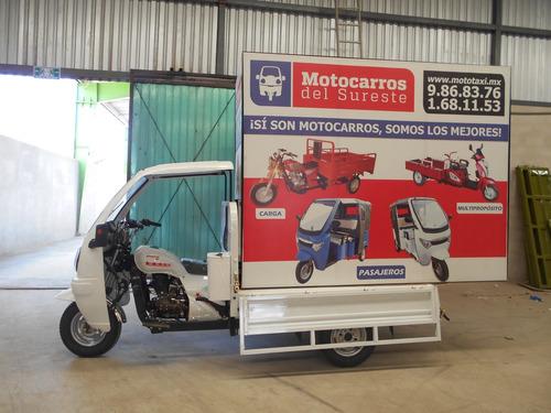 motocarro con cabina y valla publicitaria 2018