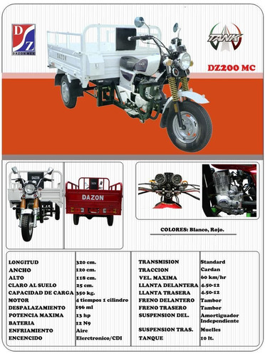 motocarro dazon dz200mc año 2016  garrafonero, carga, comida