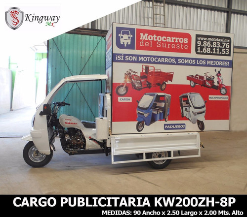 motocarro publicitario kingway 2.50 m x 2.0 m  200cc 12meses