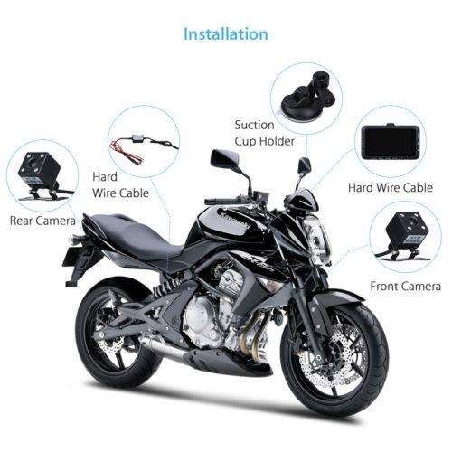 motocicleta dv168 3 hd biker dash cam video dvr doble