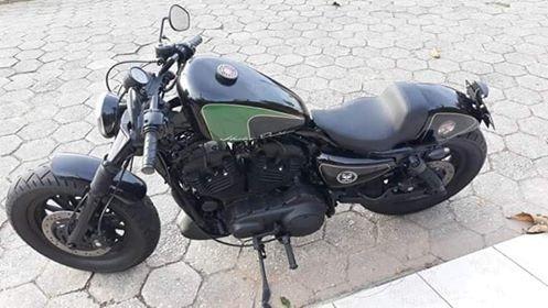 motocicleta harley davidson 883 xl, customizada, estilo café