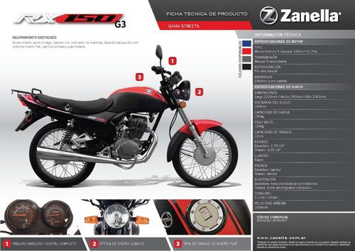 motocicleta zanella rx 150 g3 base 0km