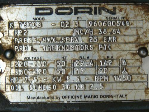 motocompresor semihermetico  dorin 7,5 hp