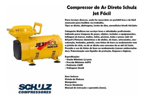 motocompressor ar direto 40 lbf kit jet fácil biv schulz