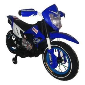 Motocross Bz Moto Elétrica Infantil Azul Com Rodinhas Música