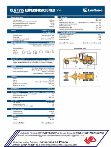motoniveladora liugong,motor 215 hp, caja zf, ripper trasero