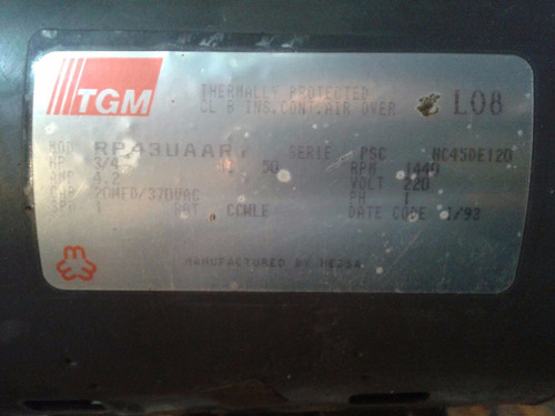 motor 3/4 1440 rpm 220 volt cn soporte polea ajust aire ac